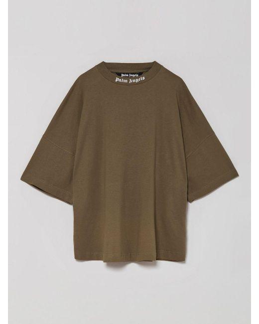 メンズ Palm Angels ロゴ Tシャツ Green
