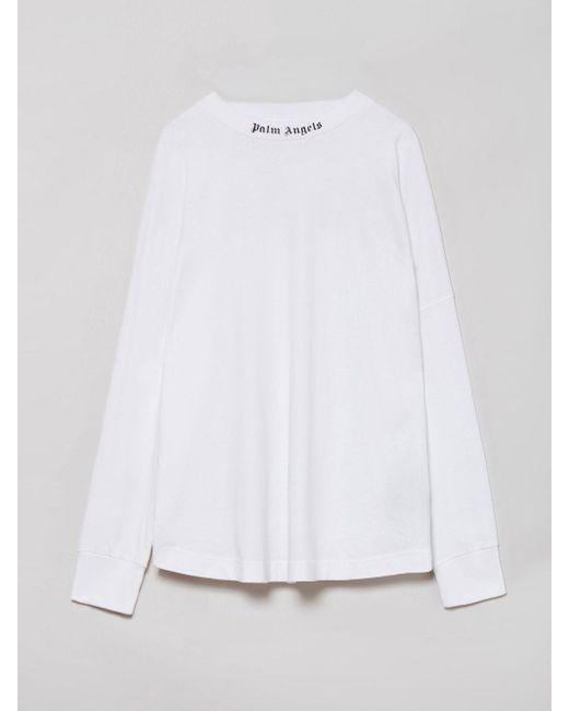 メンズ Palm Angels Doubled Logo ロングtシャツ White