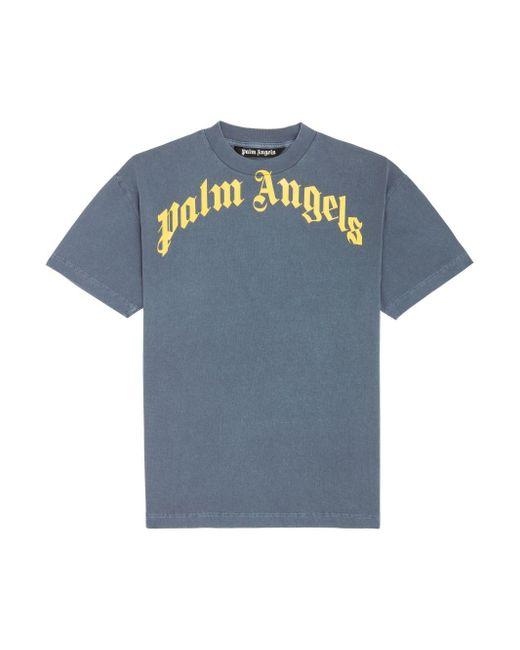 メンズ Palm Angels ロゴ Tシャツ Blue