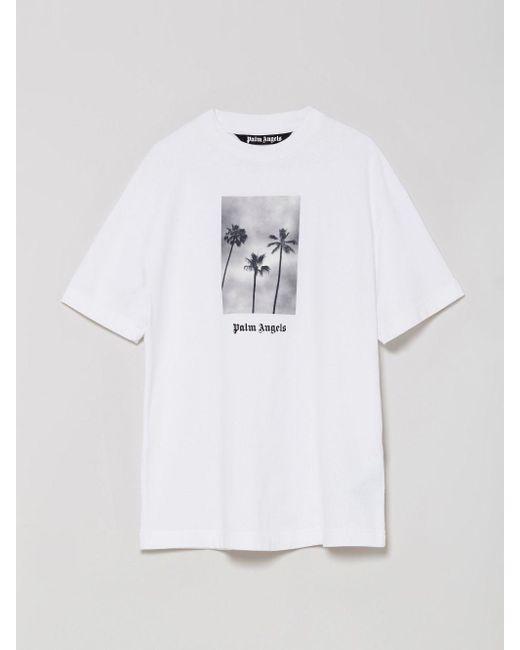 メンズ Palm Angels Boulevard Tシャツ White