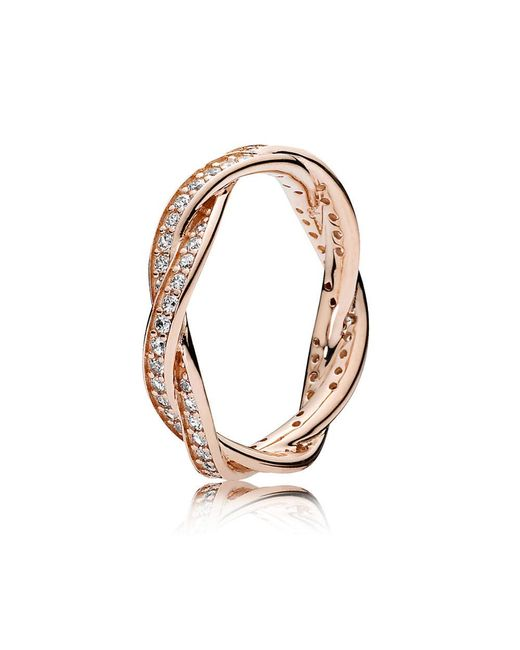 Pandora   Metallic Twist Of Fate Ring   Lyst