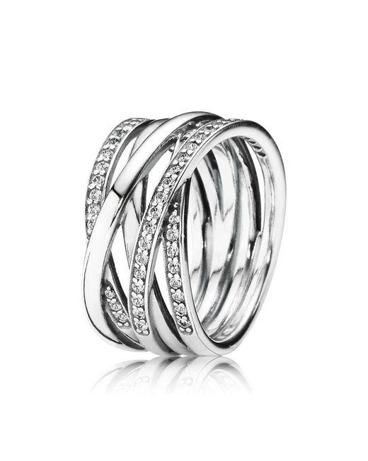 Pandora | Metallic Entwining Silver Rings | Lyst