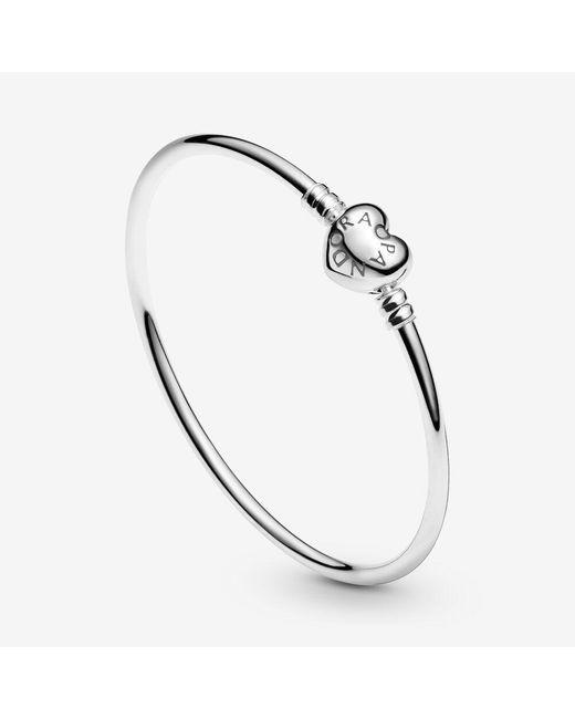 Pandora Moments Heart Clasp Bangle In Metallic Lyst
