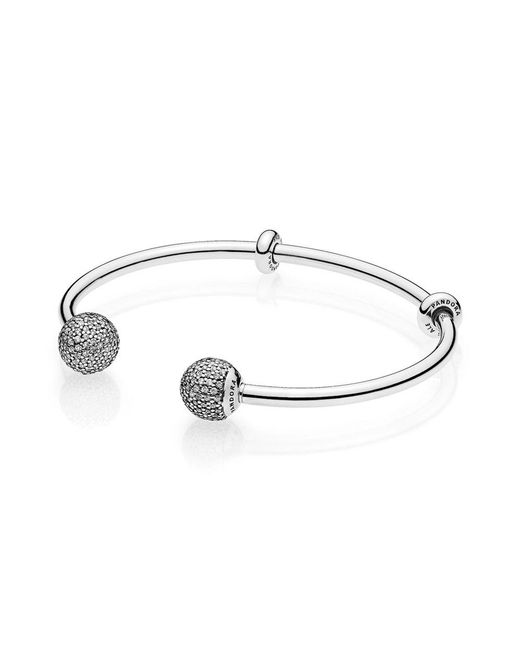 Pandora - Metallic Moments Silver Open Bangle, Pavé Caps - Lyst