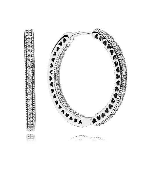 Pandora   Metallic Hearts Of Hoop Earrings   Lyst