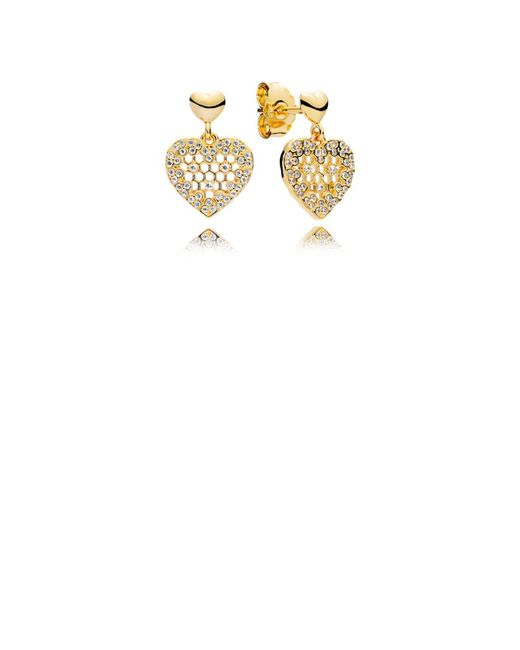 Pandora - White Honeycomb Lace Drop Earrings - Lyst