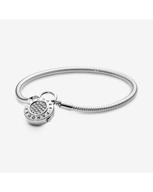 Pandora Metallic Moments Pavé Padlock Clasp Snake Chain Bracelet
