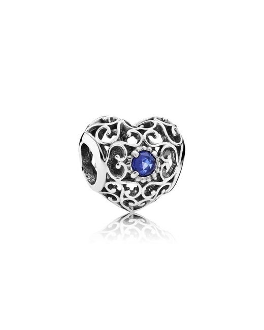 Pandora | Blue September Signature Heart Birthstone Charm | Lyst