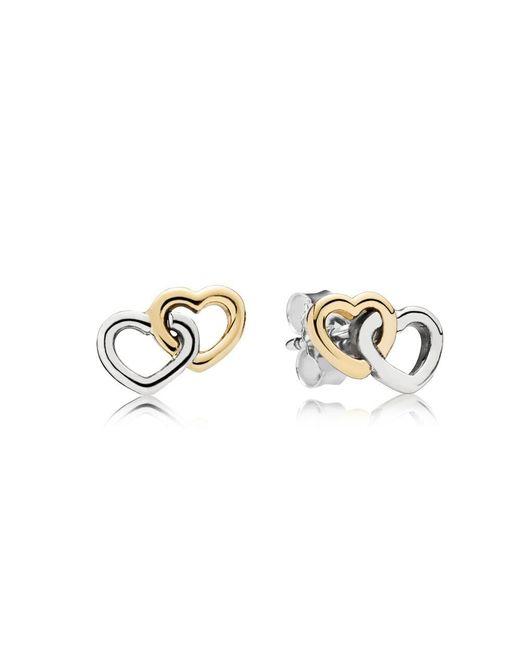 Pandora | Metallic Entwined Hearts Stud Earrings | Lyst