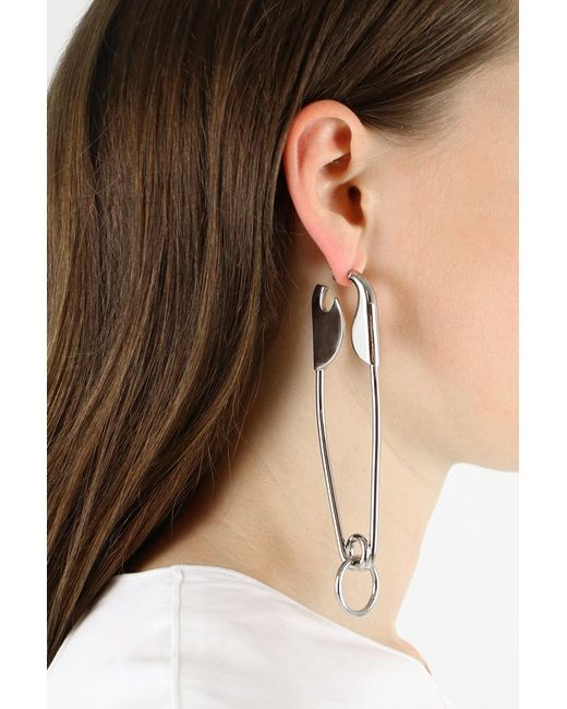 Balenciaga Safety Pin Drop Earring Silver In Metallic Lyst
