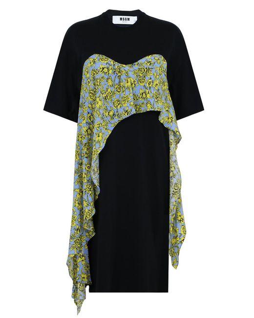 MSGM | Printed Ruffle T-shirt Dress Black | Lyst