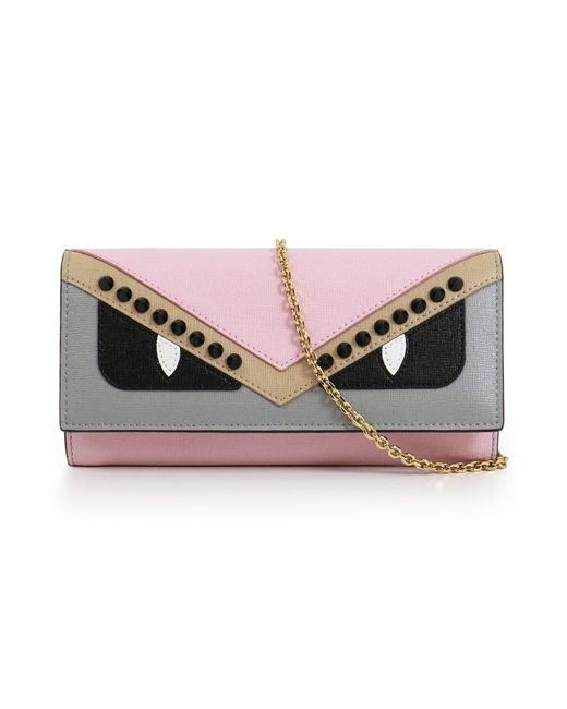 Fendi - Crayon Bag Bugs Small Wallet On Chain Pink - Lyst