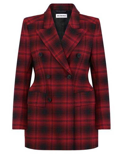 Balenciaga - Double Breasted Hourglass Check Blazer Red black - Lyst ... d8760d53e