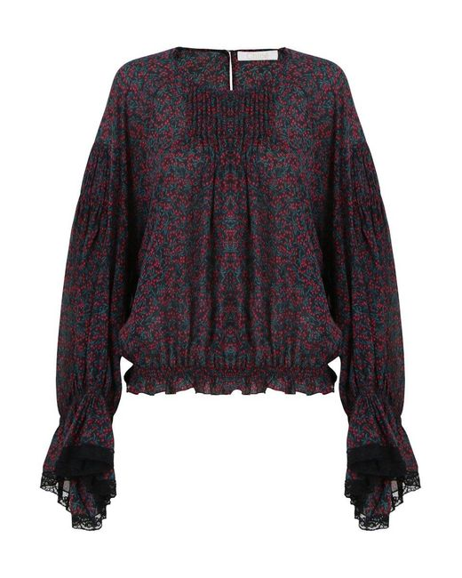 Chloé Bell Sleeve Cherry Print Blouse Crimson/black