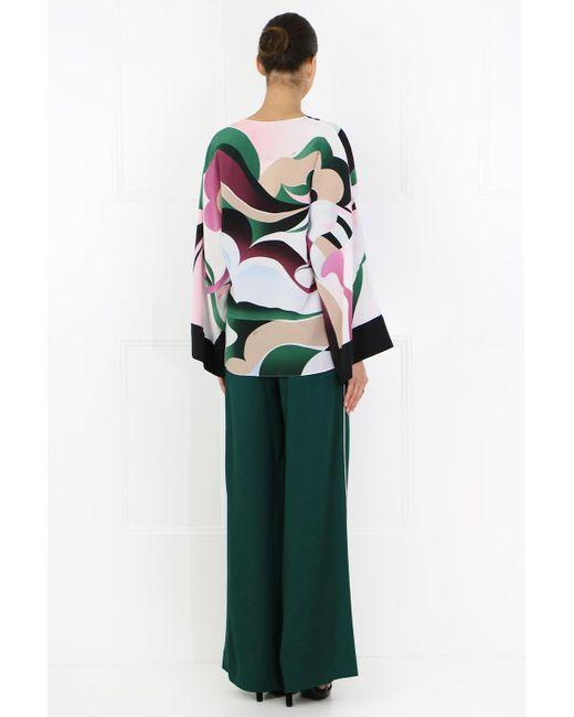 Emilio Pucci Silk L S Mirage Print Kimono Top Multicolour