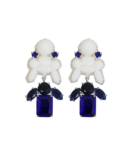 EK Thongprasert - Stepney Drop Earrings White/dark Blue Crystals - Lyst