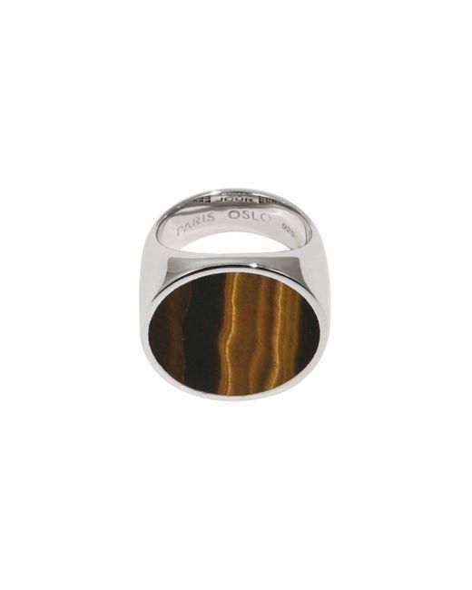 Tom Wood Metallic Flush Tiger Eye Circle Ring Silver