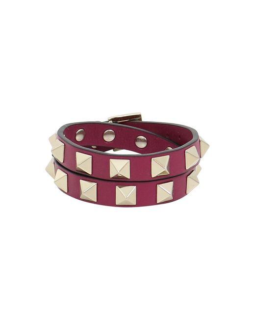 Valentino | Purple Rockstud Wrap Leather Cuff Camelia | Lyst