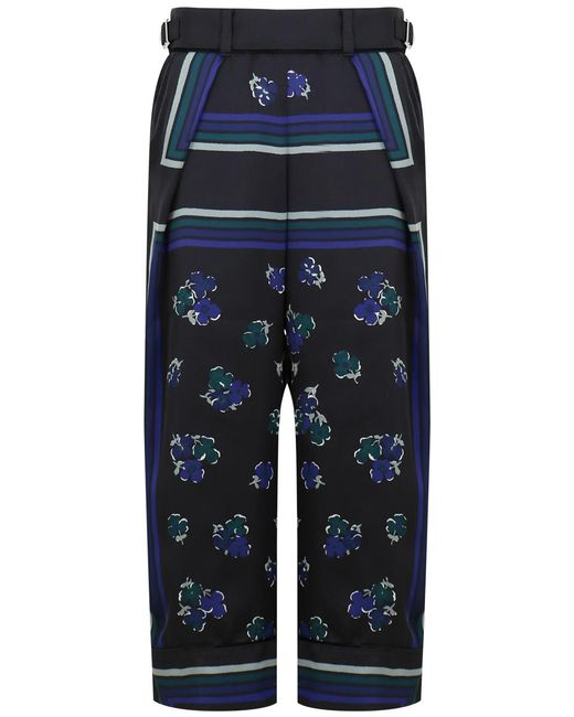 Sacai | Flower Print Wide Leg Pants Black | Lyst