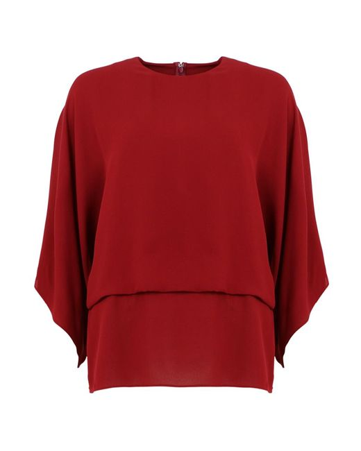 Valentino Red Silk Batwing Top Melogrand