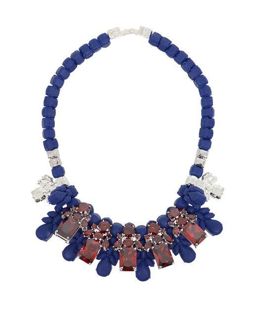 EK Thongprasert Silicone Five Jewel & Metal Neckpiece Dark Blue/red Crystals
