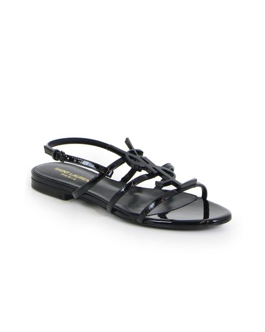 77c55b9ee71a Saint Laurent Cassandra Logo Sandals in Black - Save 23% - Lyst