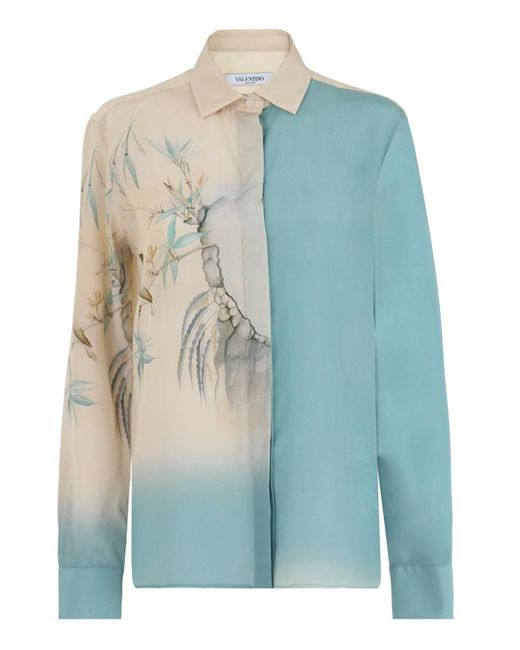 Valentino | Silk Shirt Ethereal Bird Print Blue/cream | Lyst
