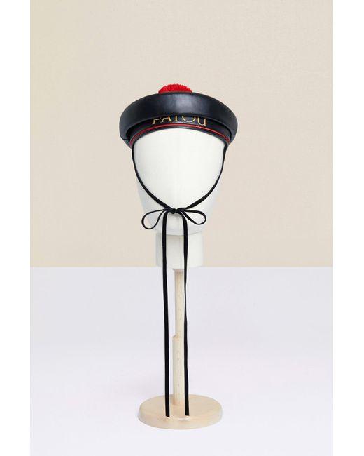 Faux Leather Sailor Hat in het zwart voor dames