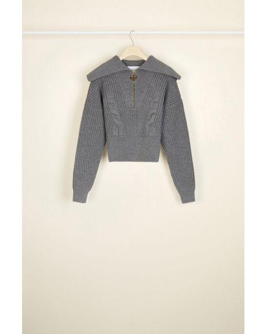 Patou Gray Zip-up Sailor Collar Wool Jumper