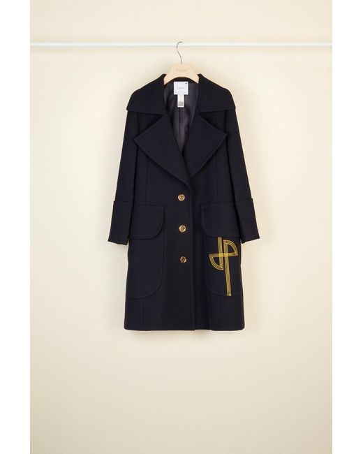 Patou 刺繍ロゴ入りロングライン ウール コート Blue