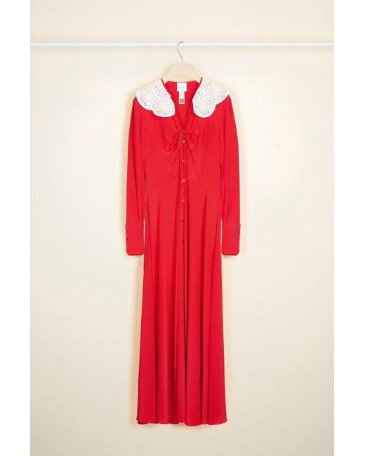 Patou シルク ミディ シャツドレス Red