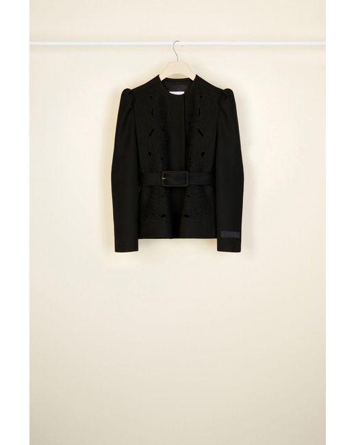 Patou 刺繍入りトリコチンウール ショートジャケット Black