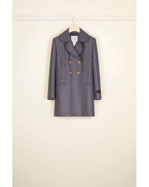 Patou ロングライン ダブルブレスト ウール ジャケット Gray