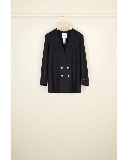 Patou カラーレス ダブルブレスト ウール ジャケット Black