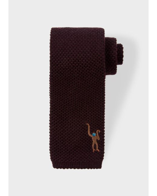 Paul Smith | Men's Chocolate Brown Embroidered 'monkey' Knitted Tie for Men | Lyst