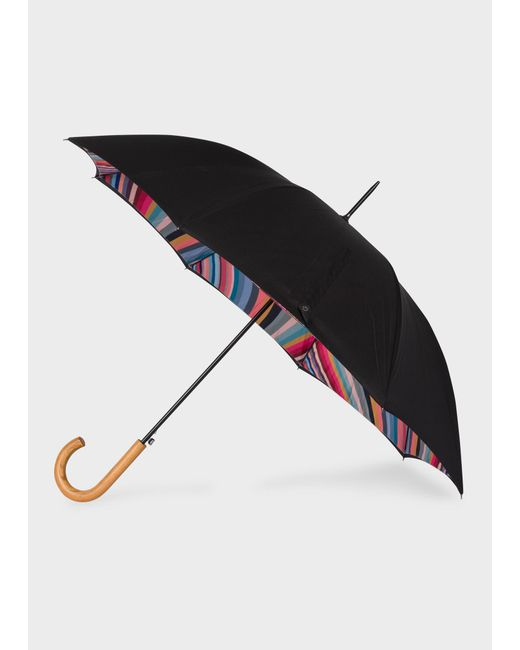 Paul Smith Black 'swirl' Canopy Walker Umbrella With Wooden Handle