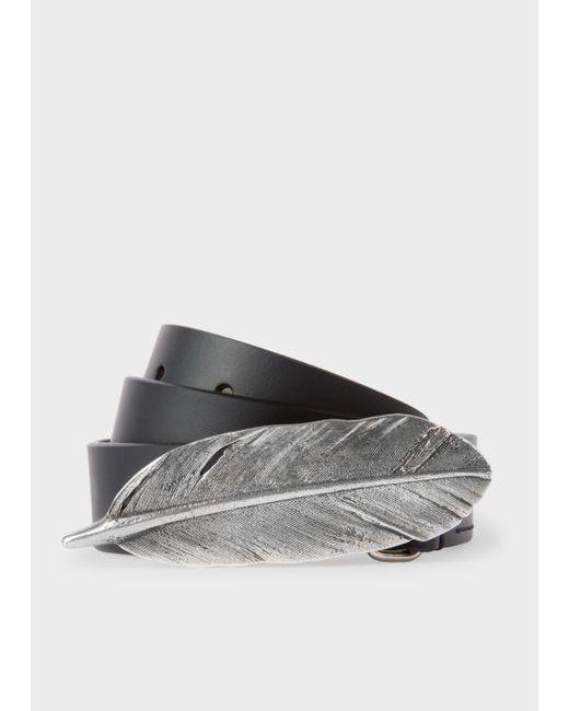 Paul Smith | Women's Black Feather Buckle Leather Belt | Lyst