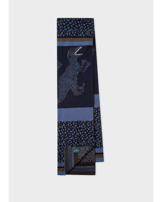Écharpe Bleu Marine Et Bleu Ardoise Motifs 'Dino' En Laine Paul Smith pour homme en coloris Blue
