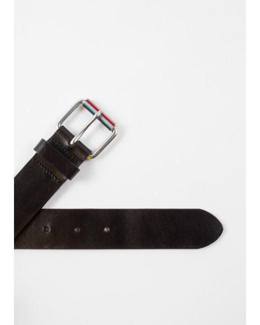 fc0e1b0b02b9 ... Paul Smith - Black Ceinture Homme Noire Passant  Signature Stripe  En  Cuir for Men ...