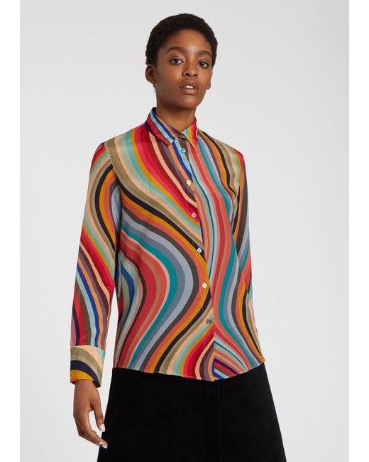 Paul Smith Multicolor Women's Swirl Print Silk Shirt