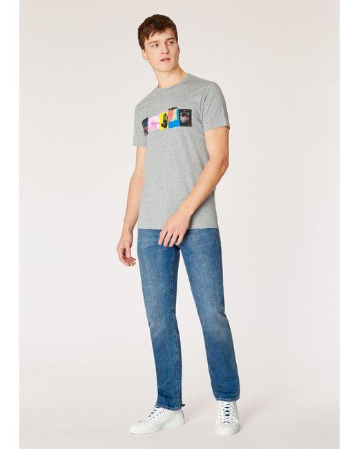 59ecd61fb7 ... Paul Smith - Gray Slim-fit Grey Marl 'hands' Print Organic-cotton ...