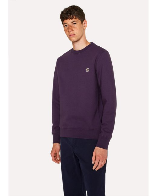 Paul Smith - Purple Dark Violet Organic-Cotton Zebra Logo Sweatshirt for Men - Lyst