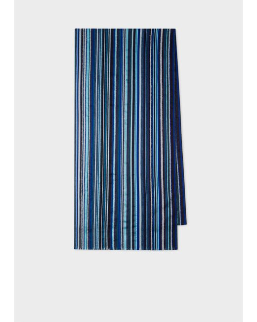 Paul Smith Blue Signature Stripe Textured Scarf for men