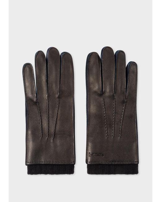 Gants Noirs En Peau De Daim Avec Doublure En Cachemire Et Soie Paul Smith pour homme en coloris Black