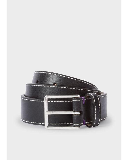 Paul Smith - Black Leather 'Geometric Mini' Belt for Men - Lyst