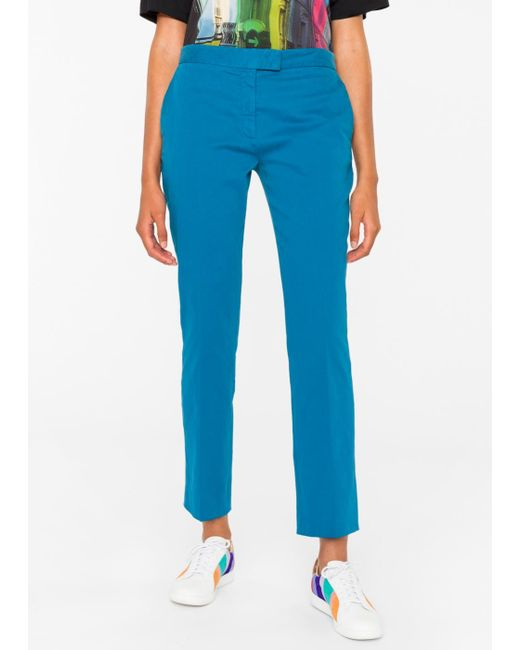 Paul Smith | Blue Women's Slim-fit Turquoise Stretch-cotton Chinos | Lyst