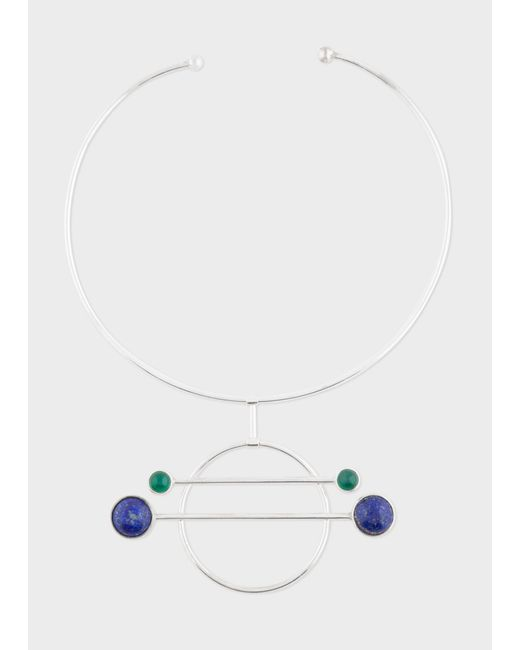 Paul Smith - Metallic Rachel Entwistle - Sterling Silver 'Balance' Necklace With Blue Lapis Lazuli And Green Onyx Stones - Lyst