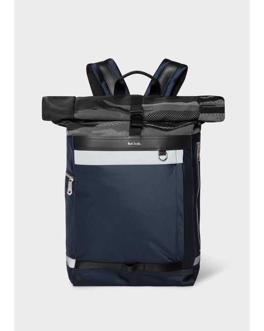 Paul Smith - Blue Navy Satin Backpack With Reflective Camo Roll-top for Men  ... b10eeb92a