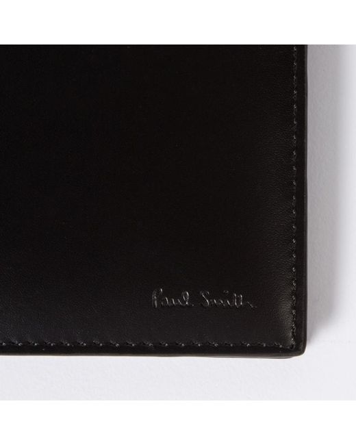 Paul Smith Men 39 S Black Leather 39 Cycling Jerseys 39 Print Interior Billfold Wallet In Black For Men