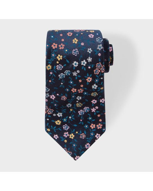 Paul smith men s navy and pink embroidered floral silk tie